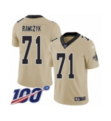 Men's New Orleans Saints #71 Ryan Ramczyk Limited Gold Inverted Legend 100th Season Football Jersey