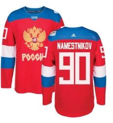 Men's Adidas Team Russia #90 Vladislav Namestnikov Authentic Red Away 2016 World Cup of Hockey Jersey