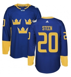 Men's Adidas Team Sweden #20 Alexander Steen Premier Royal Blue Away 2016 World Cup of Hockey Jersey