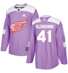 Men's Adidas Detroit Red Wings #41 Luke Glendening Authentic Purple Fights Cancer Practice NHL Jersey