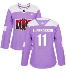 Women's Adidas Ottawa Senators #11 Daniel Alfredsson Authentic Purple Fights Cancer Practice NHL Jersey