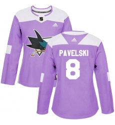 Women's Adidas San Jose Sharks #8 Joe Pavelski Authentic Purple Fights Cancer Practice NHL Jersey