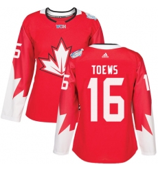 Women's Adidas Team Canada #16 Jonathan Toews Premier Red Away 2016 World Cup Hockey Jersey