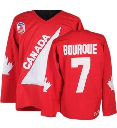 Men's CCM Team Canada #7 Ray Bourque Premier Red 1991 Throwback Olympic Hockey Jersey