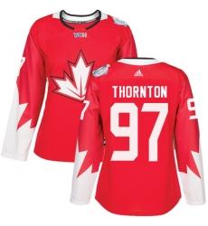 Women's Adidas Team Canada #97 Joe Thornton Authentic Red Away 2016 World Cup Hockey Jersey