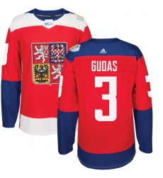Men's Adidas Team Czech Republic #3 Radko Gudas Authentic Red Away 2016 World Cup of Hockey Jersey