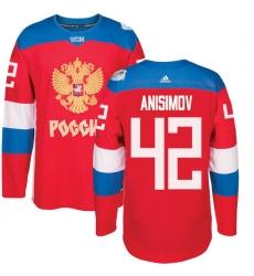 Men's Adidas Team Russia #42 Artem Anisimov Premier Red Away 2016 World Cup of Hockey Jersey