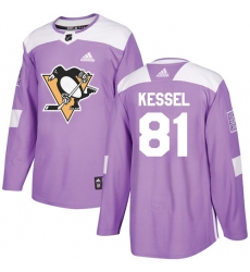 Men's Adidas Pittsburgh Penguins #81 Phil Kessel Authentic Purple Fights Cancer Practice NHL Jersey