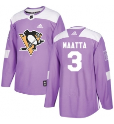 Youth Adidas Pittsburgh Penguins #3 Olli Maatta Authentic Purple Fights Cancer Practice NHL Jersey