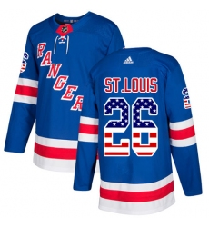 Youth Adidas New York Rangers #26 Martin St. Louis Authentic Royal Blue USA Flag Fashion NHL Jersey