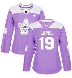 Women's Adidas Toronto Maple Leafs #19 Joffrey Lupul Authentic Purple Fights Cancer Practice NHL Jersey