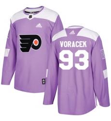 Men's Adidas Philadelphia Flyers #93 Jakub Voracek Authentic Purple Fights Cancer Practice NHL Jersey
