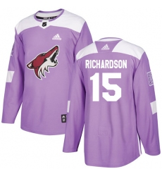 Youth Adidas Arizona Coyotes #15 Brad Richardson Authentic Purple Fights Cancer Practice NHL Jersey