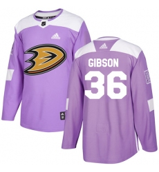 Youth Adidas Anaheim Ducks #36 John Gibson Authentic Purple Fights Cancer Practice NHL Jersey