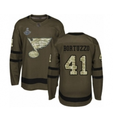 Men's St. Louis Blues #41 Robert Bortuzzo Authentic Green Salute to Service 2019 Stanley Cup Champions Hockey Jersey