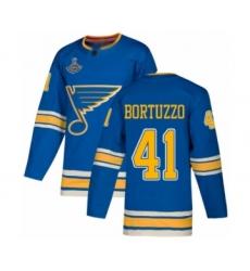 Men's St. Louis Blues #41 Robert Bortuzzo Authentic Navy Blue Alternate 2019 Stanley Cup Champions Hockey Jersey