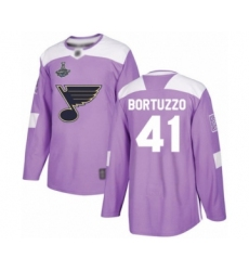 Men's St. Louis Blues #41 Robert Bortuzzo Authentic Purple Fights Cancer Practice 2019 Stanley Cup Champions Hockey Jersey