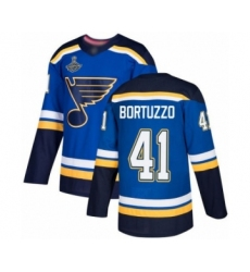 Men's St. Louis Blues #41 Robert Bortuzzo Authentic Royal Blue Home 2019 Stanley Cup Champions Hockey Jersey