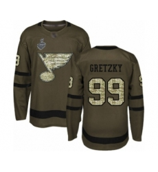 Men's St. Louis Blues #99 Wayne Gretzky Authentic Green Salute to Service 2019 Stanley Cup Final Bound Hockey Jersey