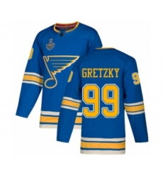 Men's St. Louis Blues #99 Wayne Gretzky Authentic Navy Blue Alternate 2019 Stanley Cup Final Bound Hockey Jersey