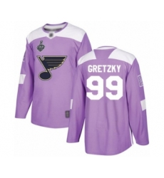 Men's St. Louis Blues #99 Wayne Gretzky Authentic Purple Fights Cancer Practice 2019 Stanley Cup Final Bound Hockey Jersey