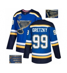 Men's St. Louis Blues #99 Wayne Gretzky Authentic Royal Blue Fashion Gold 2019 Stanley Cup Final Bound Hockey Jersey
