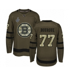 Men's Boston Bruins #77 Ray Bourque Authentic Green Salute to Service 2019 Stanley Cup Final Bound Hockey Jersey
