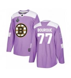 Men's Boston Bruins #77 Ray Bourque Authentic Purple Fights Cancer Practice 2019 Stanley Cup Final Bound Hockey Jersey