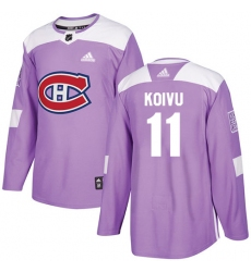 Men's Adidas Montreal Canadiens #11 Saku Koivu Authentic Purple Fights Cancer Practice NHL Jersey