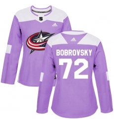 Women's Adidas Columbus Blue Jackets #72 Sergei Bobrovsky Authentic Purple Fights Cancer Practice NHL Jersey