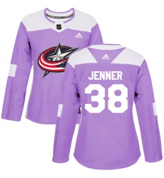 Women's Adidas Columbus Blue Jackets #38 Boone Jenner Authentic Purple Fights Cancer Practice NHL Jersey
