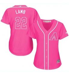 Women's Majestic Arizona Diamondbacks #22 Jake Lamb Authentic Pink Fashion MLB Jersey