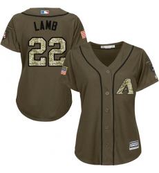 Women's Majestic Arizona Diamondbacks #22 Jake Lamb Replica Green Salute to Service MLB Jersey