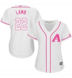 Women's Majestic Arizona Diamondbacks #22 Jake Lamb Replica White Fashion MLB Jersey