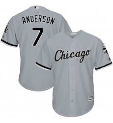 Men's Majestic Chicago White Sox #7 Tim Anderson Replica Grey Road Cool Base MLB Jersey