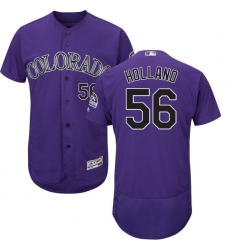 Men's Majestic Colorado Rockies #56 Greg Holland Purple Flexbase Authentic Collection MLB Jersey