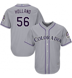 Men's Majestic Colorado Rockies #56 Greg Holland Replica Grey Road Cool Base MLB Jersey