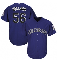 Men's Majestic Colorado Rockies #56 Greg Holland Replica Purple Alternate 1 Cool Base MLB Jersey