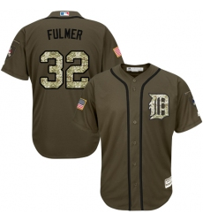 Men's Majestic Detroit Tigers #32 Michael Fulmer Replica Green Salute to Service MLB Jersey
