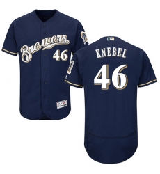 Men's Majestic Milwaukee Brewers #46 Corey Knebel Navy Blue Flexbase Authentic Collection MLB Jersey