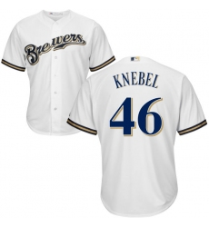 Men's Majestic Milwaukee Brewers #46 Corey Knebel Replica White Home Cool Base MLB Jersey