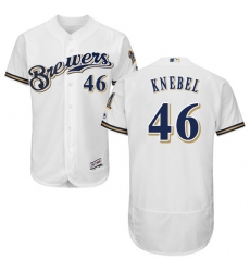 Men's Majestic Milwaukee Brewers #46 Corey Knebel White Flexbase Authentic Collection MLB Jersey
