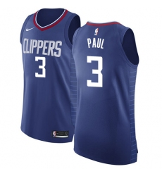 Men's Nike Los Angeles Clippers #3 Chris Paul Authentic Blue Road NBA Jersey - Icon Edition