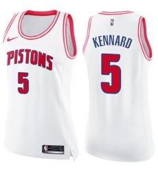 Women's Nike Detroit Pistons #5 Luke Kennard Swingman White/Pink Fashion NBA Jersey
