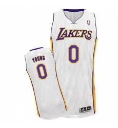 Revolution 30 Lakers #0 Nick Young White Stitched NBA Jersey