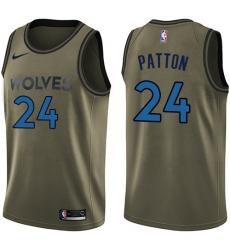 Men's Nike Minnesota Timberwolves #24 Justin Patton Swingman Green Salute to Service NBA Jersey