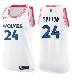 Women's Nike Minnesota Timberwolves #24 Justin Patton Swingman White/Pink Fashion NBA Jersey