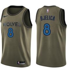 Men's Nike Minnesota Timberwolves #8 Nemanja Bjelica Swingman Green Salute to Service NBA Jersey