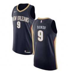 Men's Nike New Orleans Pelicans #9 Rajon Rondo Authentic Navy Blue Road NBA Jersey - Icon Edition
