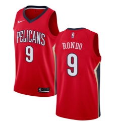 Men's Nike New Orleans Pelicans #9 Rajon Rondo Authentic Red Alternate NBA Jersey Statement Edition